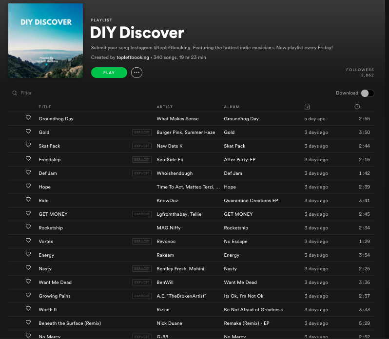 free spotify playlist submission
